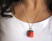 Spring Necklace Color Blocking - Salmon Pink / Orange and Green Silver Necklace, natural coral pendant