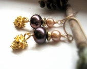Gold Pine Cone Earrings with Pearls, Brown and Ivory Freshwater Pearl Earrings, Woodland