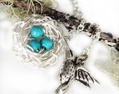 Hummingbird pendant necklace, Bird Nest Necklace Sterling Silver and Turquoise necklace, baby shower gift, wire jewelry, silver bird charm