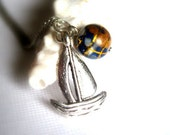Sailing around the Globe Necklace, Silver Sailboat Pendant - Adventurous Sailor