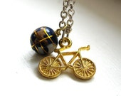 Bicycle Charm Necklace, tiny bike and the globe, Biking and Traveling Jewelry