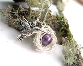 Hummingbird necklace, New Mother / Mother of One - Nest Necklace Sterling Silver and purple pearl Women's Jewelry