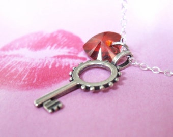 Key Necklace, Crystal Red Heart sterling silver key charm, tiny heart charm-  It all begins with a Kiss