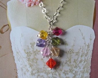 Silver Necklace, Sparkling Jewelry - Sterling Silver and colorful multicolor crystals, Glitter wire wrapped necklace