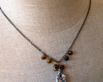 Autumn leaves necklace leaf pendant tiger eye stone , ocean jasper carved leaf stone
