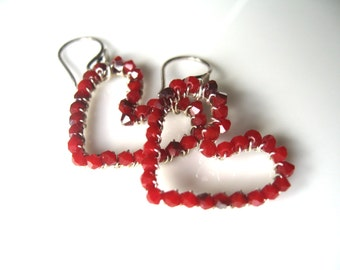 Swarovski Crystal Earrings, sterling silver, red heart valentine earrings, wire wrapped