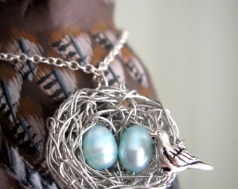 Personalized family necklace, moms, 2 baby blue eggs silver bird nest necklace jewelry, mother and sons