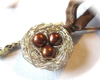 Birds Nest Necklace Jewelry with three brown pearls on a silk ribbon triplet moms, mother with three children, nursing necklace