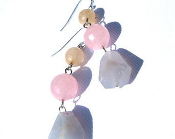 Pastel Gemstone Earrings, pink rose quartz blue agate yellow citrine