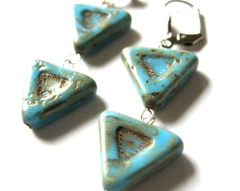 Blue Chevron Earrings Women's Fashion Jewelry Triangles Turquoise Silver Drop Earrings Arrows