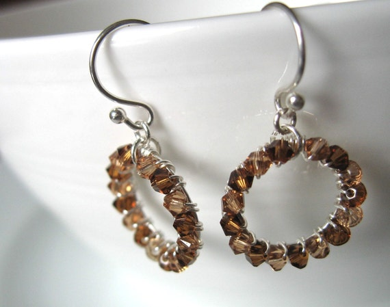 Fall Hoop earrings with brown swarovski crystals and sterling silver - earth tones jewelry