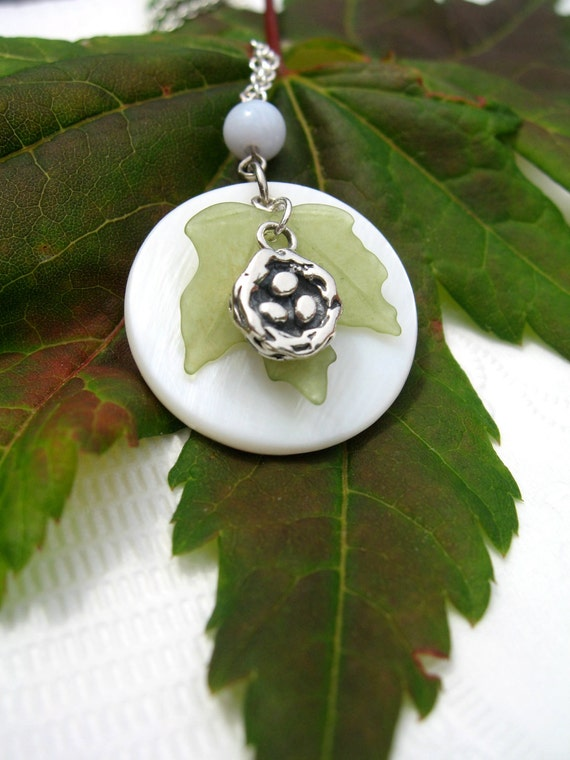 Full Moon Necklace - Birds Nest silver pendant necklace- Amazonite, pearl, lucite maple leaf and sterling silver