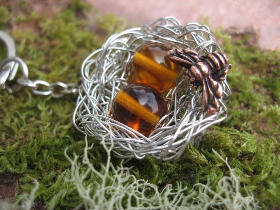 Honeybee Handmade Honey yellow beads in a bee hive nest, two sweet bumblebee moms or nature lovers