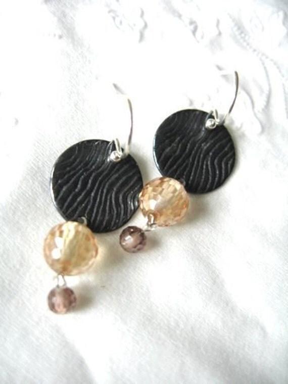 Gemstone Earrings Sale, Yellow and Gray earrings, Modern Dangle Earrings