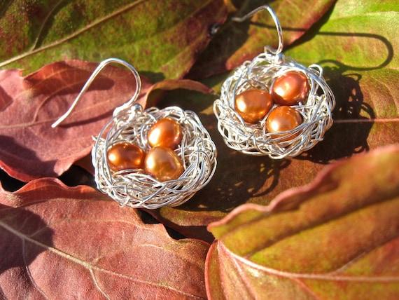 Bird nest silver earrings in burnt orange freshwater pearls sterling silver autumn hues