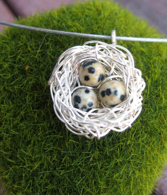 Farm Eggs pendant necklace, Dalmatian jasper birds nest