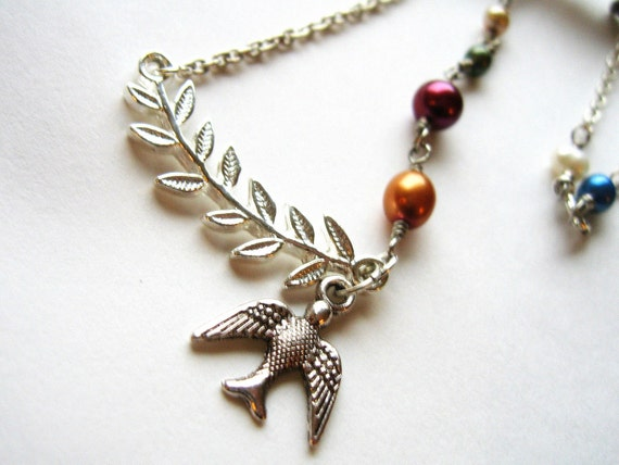 Bird on a branch necklace, Silver Flying Bird Multicolor freshwater pearls, Wire Wrapped, Orange Blue White Green Red - Nature in Harmony