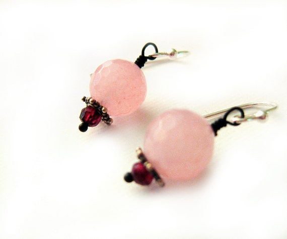 Rose Quartz Earrings, garnet earrings, Sterling silver, red and pink, Cherry Blossoms Spring Fashion
