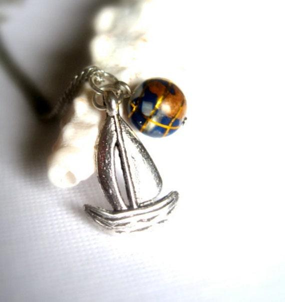 Sailing around the Globe Necklace, Silver Sailboat Pendant - Adventurous Sailor