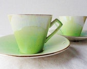 RESERVED FOR MOIRA   Royal Winton Set of Green Lustre Tea Cups and Saucers