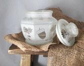 Acorn Candy Jar Etched Glass Autumn Motif