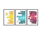 You are my sunshine - Set of 3 - 13x19 prints