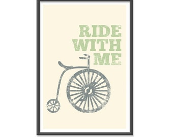 Ride with me Unicycle - 13x19 Print - Vintage Colors