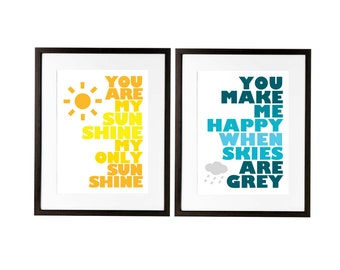 You Are My Sunshine for Ikea Frame - Set of Two -  13x19 Prints