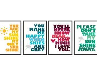 You Are My Sunshine - Set of Four - 13x19 Prints