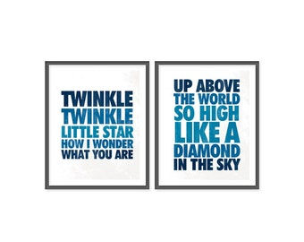 Twinkle Little Star - Set of Two 8x10 prints - Dark Blue Shades