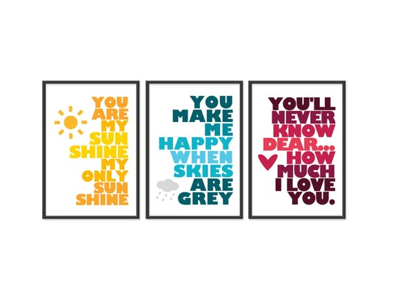 You are my sunshine - set of three 5x7 Prints - Yellow, Blue, Red