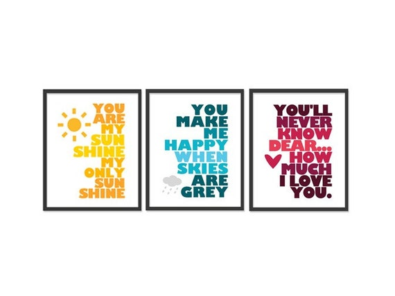 You are my sunshine - Set of three 8x10 prints - Yellow, Blue, Red