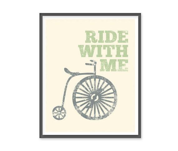 Ride with me -  8x10 vintage bike print
