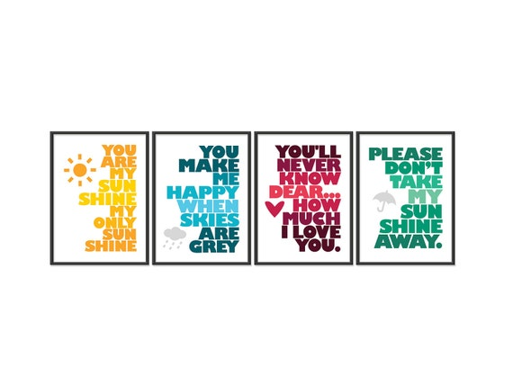 You are my sunshine - Set of FOUR 5x7 Prints - Yellow, Blue, Red, Green