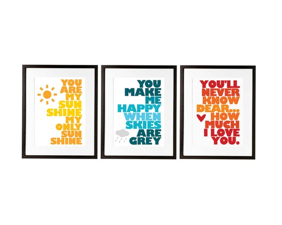 you are my sunshine set of three prints designed for ikea ribba frame