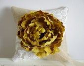Ring Bearer Pillow - Burlap and lace with yellow flower