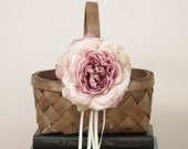 Wood Flower Girl Basket with Dusty Rose Colored Flower