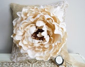 Burlap and Lace Ring Bearer Pillow with Ivory Peony
