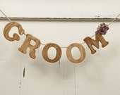 Bride and Groom Chair Banners in Light Honey