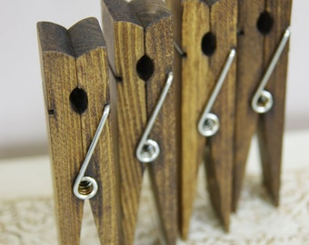 Medium Wood Clothespins - Wedding Reception Table Number Holder - Dark Walnut - Photo holder - Memo Holder - Picture Frame