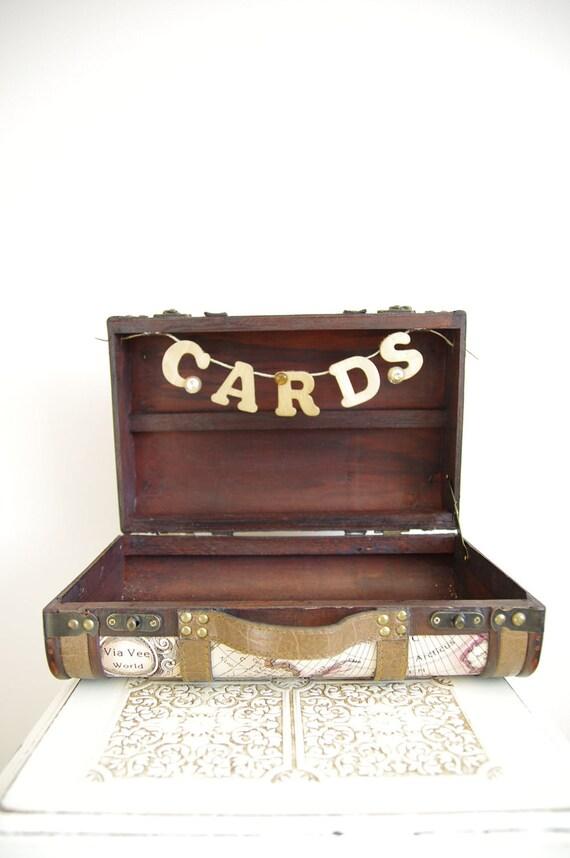 Wedding Card Box Suitcase Travel Themed Vintage Style