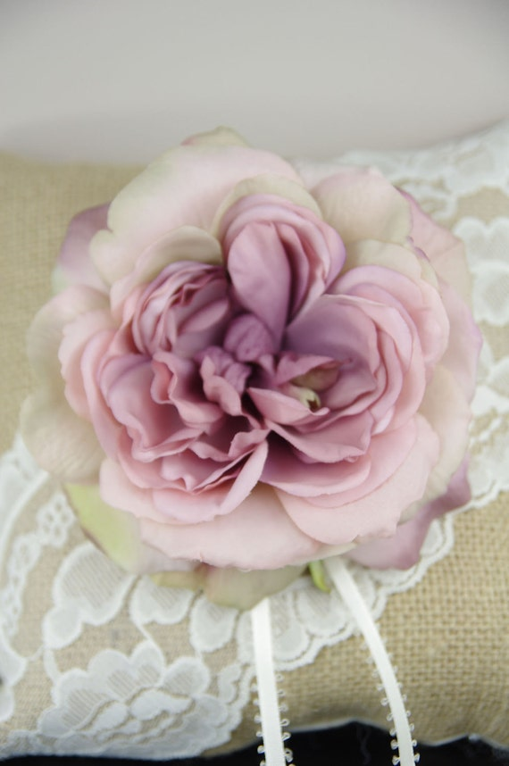 Ring Bearer Pillow - Burlap and lace with dusty rose flower