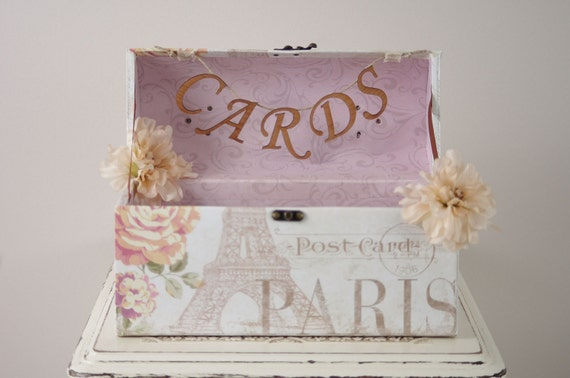 Paris Wedding Card Box - Wedding Card Trunk with Romantic Paris theme