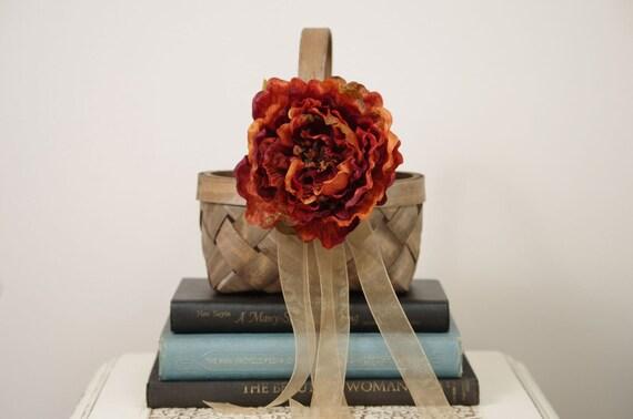 Wood Flower Girl Basket with Burnt Orange Flower