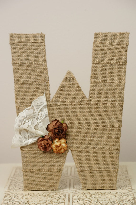 Large Burlap wrapped letter W - wedding decoration monogram for cake topper, table centerpiece
