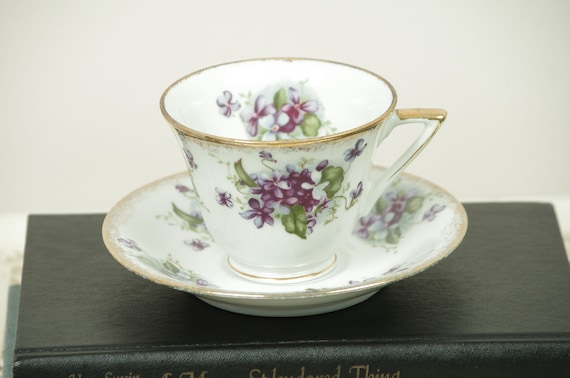 Tea Cup and Saucer with Purple Violets