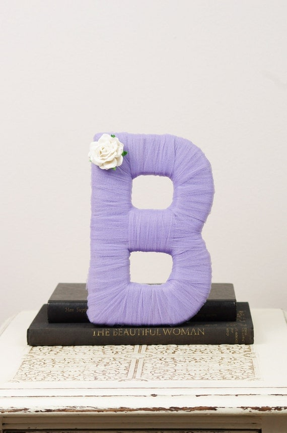 """Tulle wrapped letter """"B"""" - wedding decoration, table centerpiece, photography prop"""