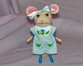 Needle Felted Mouse Dressed in Blue - FREE SHIPPING to US and Canada