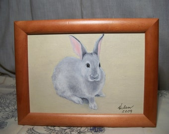 Original Oil Painting - Bunny in Wood Frame - Free Shipping to US and Canada
