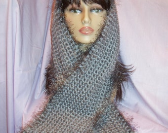 Grey Crochet Scarf with Fun Fur Edging - FREE SHIPPING to US and Canada